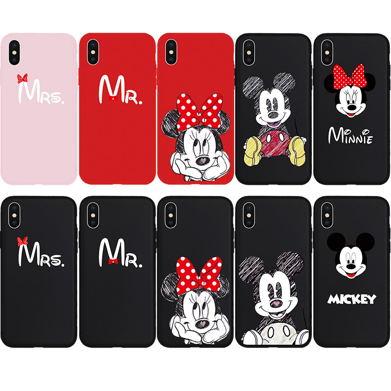 Cute Minnie Mickey Cartoon Mouse Lovers Couple Soft Cases for iPhone 6 6s Plus 7 7Plus