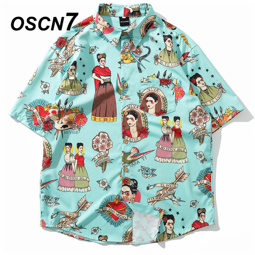OSCN7 2019 Casual Plaid Short Sleeve Shirt Men Street 2019 Hawaii Beach Women Adjustable Hem Short Sleeve Shirts Mens 3106