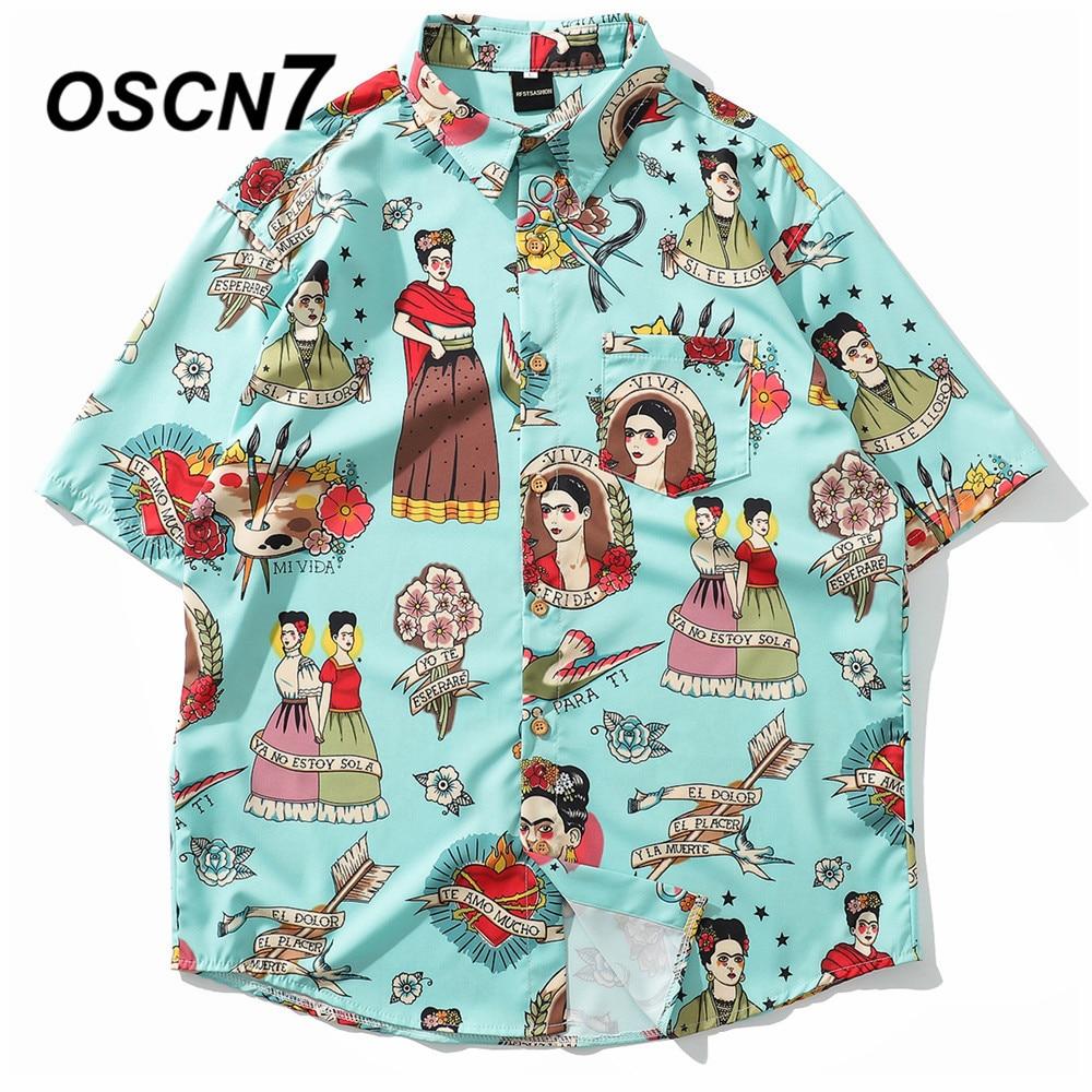 OSCN7 2019 Casual Plaid Short Sleeve Shirt Men Street 2019 Hawaii Beach Women Adjustable Hem Short Sleeve Shirts Mens 3106