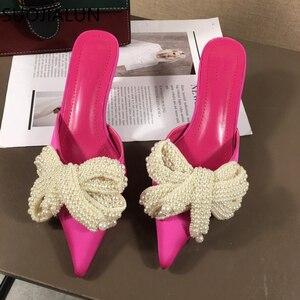 Image 1 - SUOJIALUN Women Mules Slippers Med Heel Sandals Summer Slip On Slides Brand Butterfly Loafers Flip Flops Shoes Outdoor Slipper