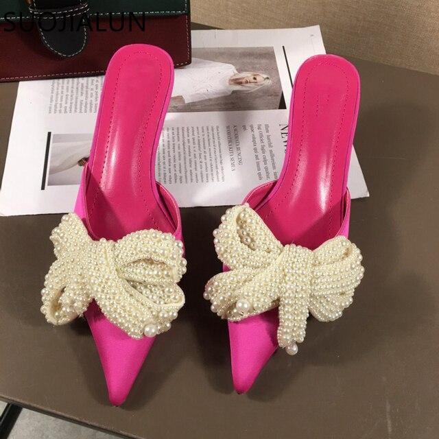 SUOJIALUN Women Mules Slippers Med Heel Sandals Summer Slip On Slides Brand Butterfly Loafers Flip Flops Shoes Outdoor Slipper