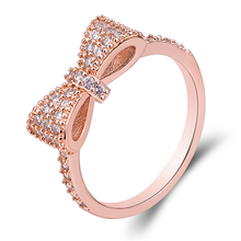Geometric Bowknot Rings For Women Fashion Crystal Ring Rose Gold Silver Colour Engagement Party Wedding Jewelry Valentines Gift
