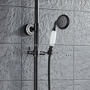 Image 2 - Bathroom Shower Set Black Bronze Single Handle Fashion Bath Shower Mixer with Handheld Shower Porcelain ZR61