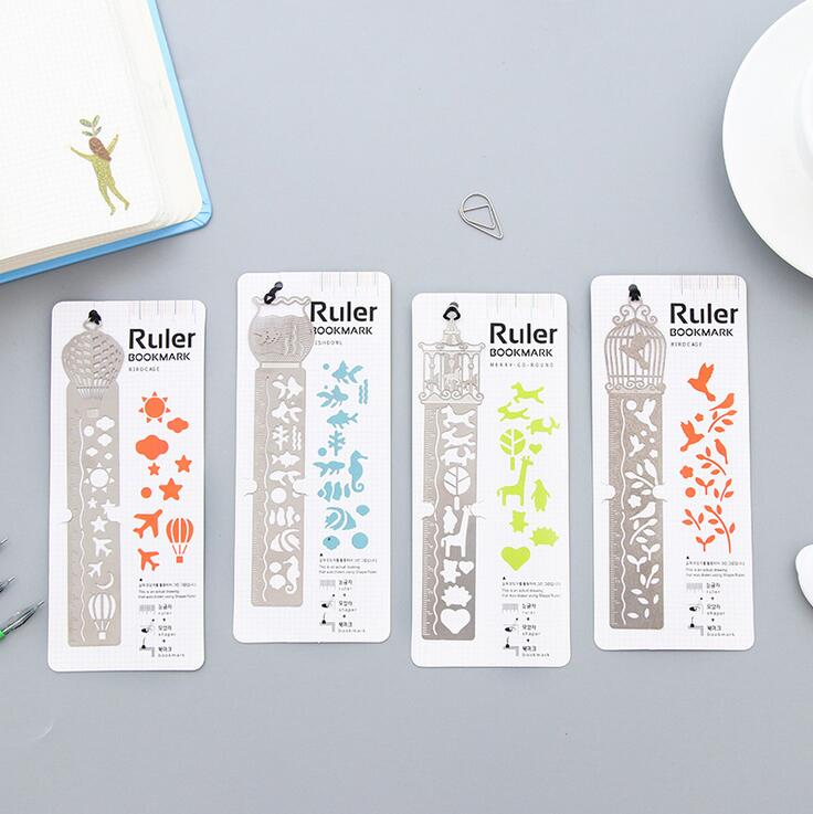 24 Pcs/lot Classical Multi-Function Various Flower Graffiti Templates Stainless Steel Drawing Ruler Promotion Gift Stationery