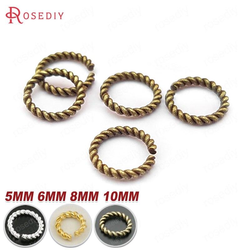 (27811)50PCS Diameter 5MM 6MM 8MM 10MM Brass Twist Jump Rings Split Rings Closed Rings Diy Jewelry Findings Accessories