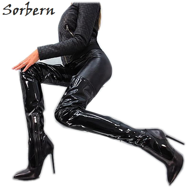 229a257dd92 Sorbern Sexy Thigh High Boots For Women Slim Heeled Pointed Toe Custom  Color Ladies Shoe Extreme High Heels 13Cm New 2019