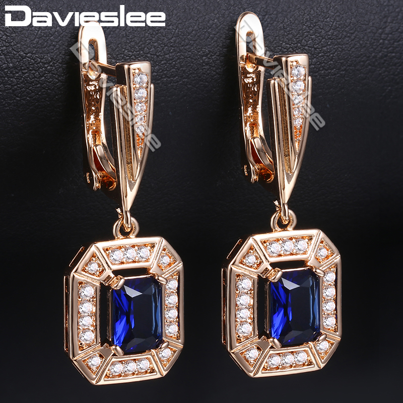 Davieslee Earrings For Women 585 Rose Gold Filled Octagon Clear Blue CZ Stud Earring Fashion Jewelry Party DGE167