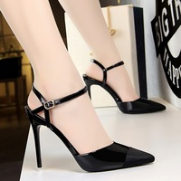 BIGTREE Classic metal stiletto pointed high heels slingback Buckle Strap Party Wedding stilettos shoes