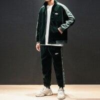 Для мужчин осень Зимняя одежда Комплекты из 2 предметов модные Повседневное свободные куртки брюки уличной хип хоп спортивный костюм мужск