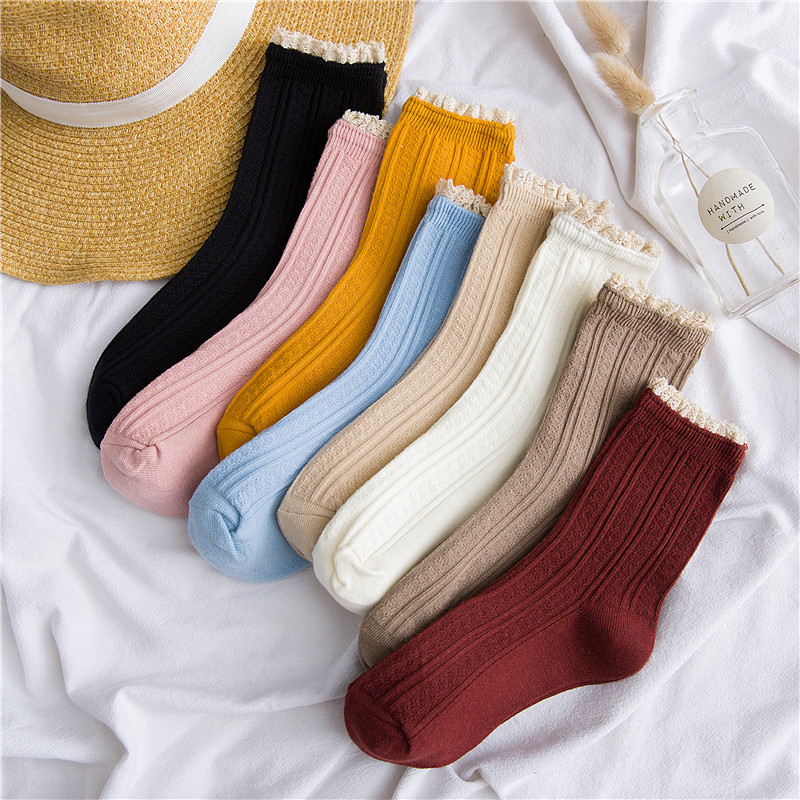 Women Socks Autumn New Fashion Lace Socks Cotton Solid Color Cute Women Fashion Lady Long Socks 1 Pair