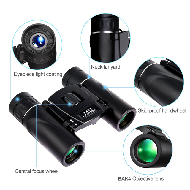 APEXEL 8x21 Compact Zoom Binoculars Long Range 3000m Folding HD Powerful Mini Telescope BAK4 FMC Optics Hunting Sports 2
