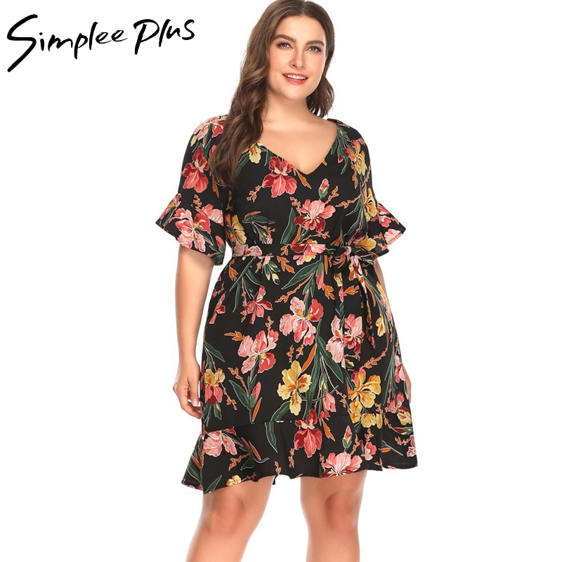 Simplee Plus Summer Women Dresses Plus Size Sexy V Neck Boho Dress Ruffle Short Sleeve Floral Dress Vestido Plus Size mini dress
