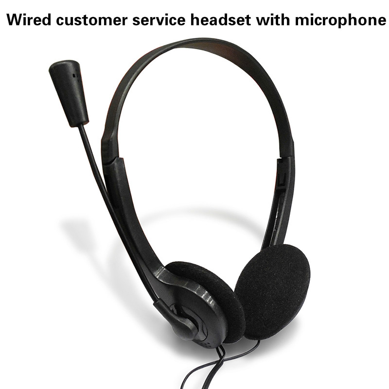 Wired Stereo Headset Noise Cancelling Earphone With Mini Mic For Office Customer Service Adjustable For Computer Laptop Desktop