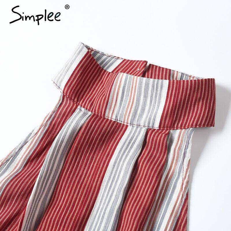 Simplee холтер спинки красный полоса сексуальный комбинезон ползунки лето лук рукавов длинные комбинезоны элегантный пляж playsuit женщины наряд