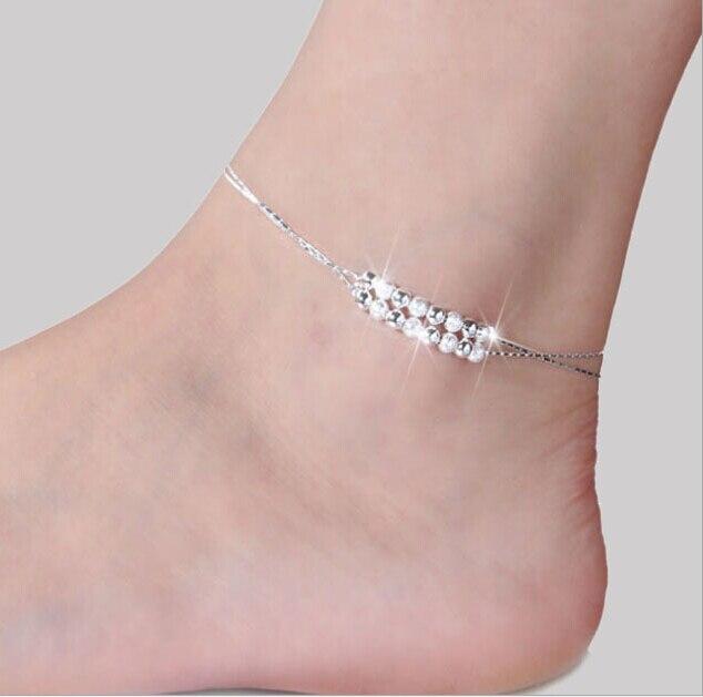 Füße Zubehör 925 Sterling Damen Silber Ankle Armbänder Splitter Kette Fußkettchen Armband Fuß Schmuck Armband Cheville Femme Schmuck & Zubehör Fußkettchen