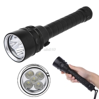 10000 Lumens Diving Flashlight Torch 5*T6 Diving LED Flashlight 200M Underwater Waterproof Light Tactical Flashligh S09 Dropship
