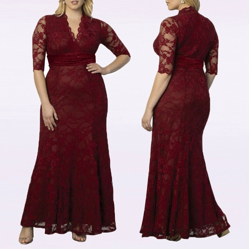 Plus Size Mother Of The Bride Dresses Elegant Burgundy Mermaid V Neck Half Sleeve Long Lace Formal Party Gowns Robe De Soiree(China)