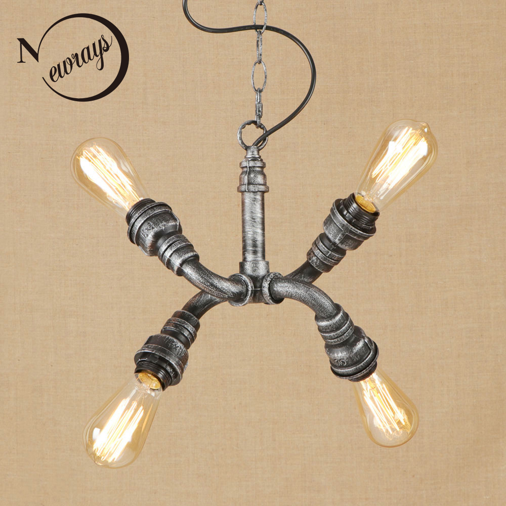 Vintage iorn american country silver Indoor pendant lights LED lamp luminaire suspension 220v for dinning room path bed room bar