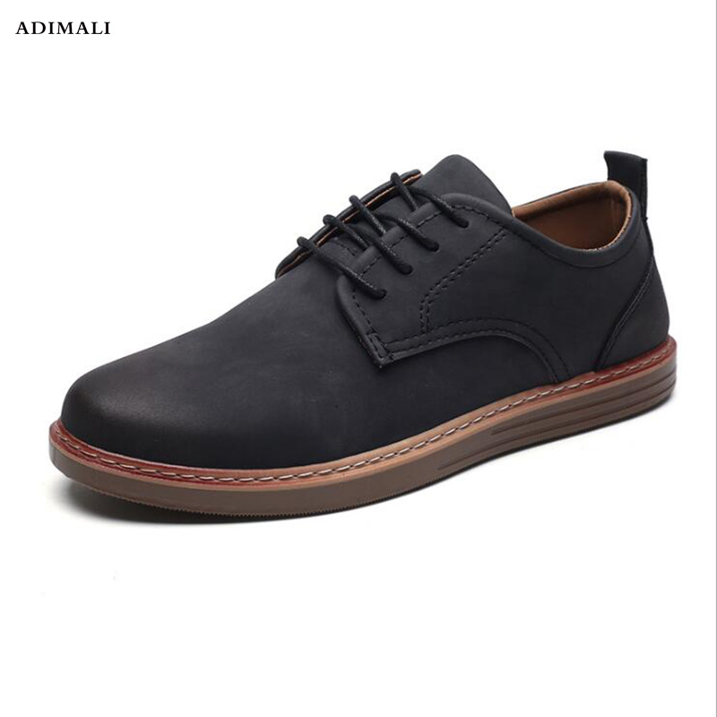 New plus size 39-45 genuine leather men casual flats waterproof dress oxford man shoes lace up for work male loafers fx3