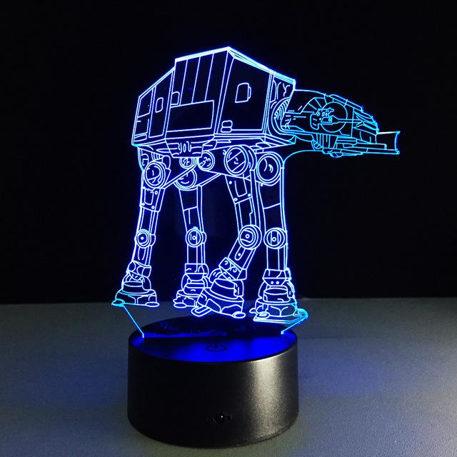 Regalos creativos de la Lámpara de Luz Nocturna en 3D de Star Wars El Transporte de perros USB de Escritorio de Tabla del Led Lampara como Decoración Para El Hogar Dormitorio Lectura Nightlig