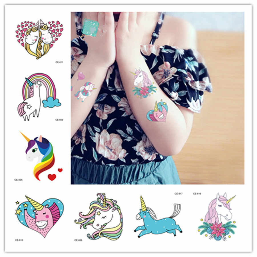 1Pcs Colorful Cartoon Unicorn Temporary Tattoos Sticker Cute Star Tattoo Sticker Women Pattern Body Art Design Waterproof Kid #2