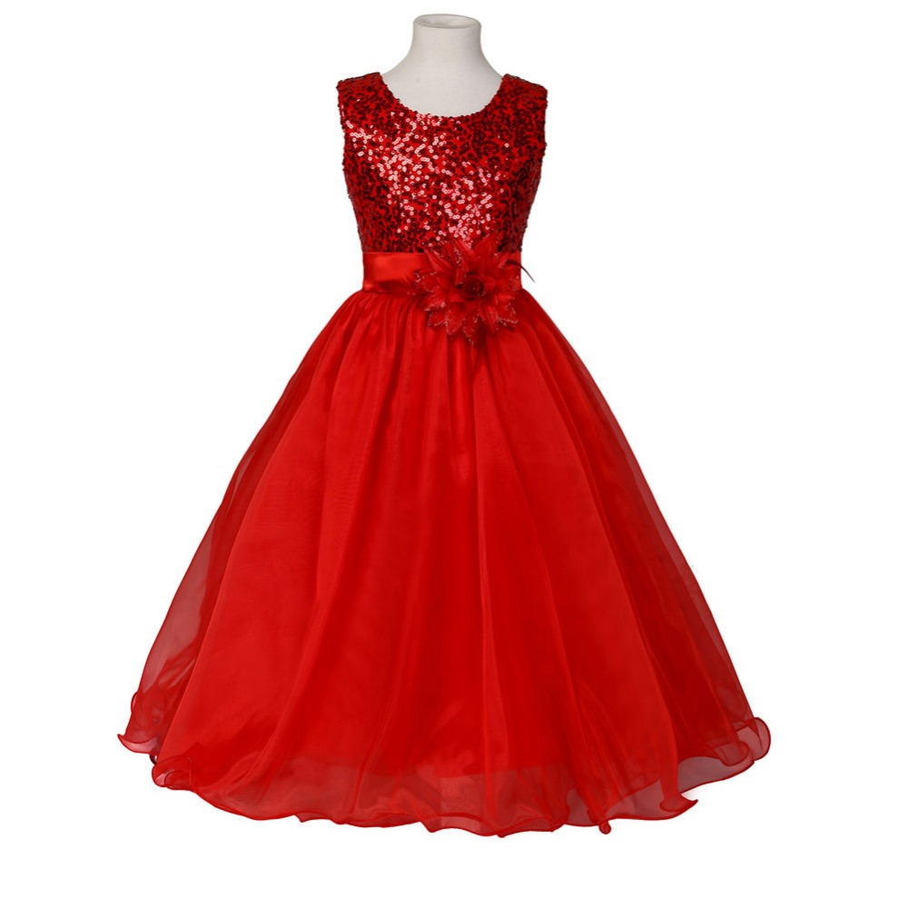 Sequined   Girl   Vestido Clothes Ball Gown Scoop Satin Glitz Pageant Floor Length   Flower     Girls     Dresses   For Children Prom Gown
