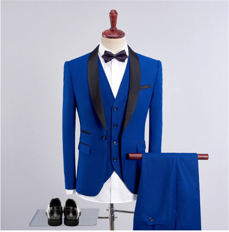 ملابس رجالي تلائم الرجل النحيف الدعاوى الملكي الأزرق السترة آخر معطف بانت تصاميم العريس فستان الزفاف سهرة 3 أجزاء دعوى (سترة + السراويل + سترة)-في بدلة من ملابس الرجال على  مجموعة 1