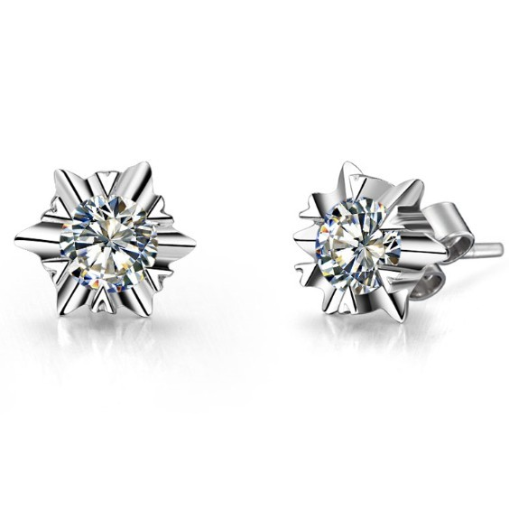 Promise Stud-Earrings Diamond Gold White Solid-18k Simulate Snow-Flake-Style Royal-Design