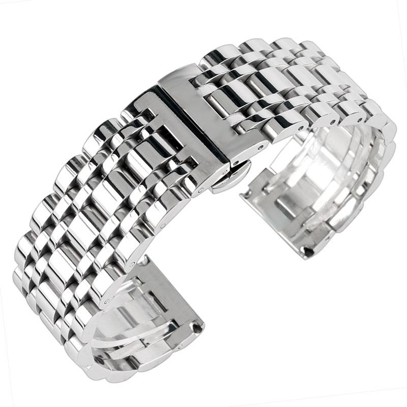 Prix pour Haute Qualité Caché Fermoir Bracelet 20mm 22mm 24mm En Acier Inoxydable Montre de Courroie De Bande Hommes Bracelet En Argent Remplacement solide Lien
