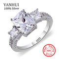 YANHUI Luxury original Silver Ring Set 5A Cubic Zirconia SONA CZ Engagement Wedding Rings For Women Fashion Jewelry YMR302