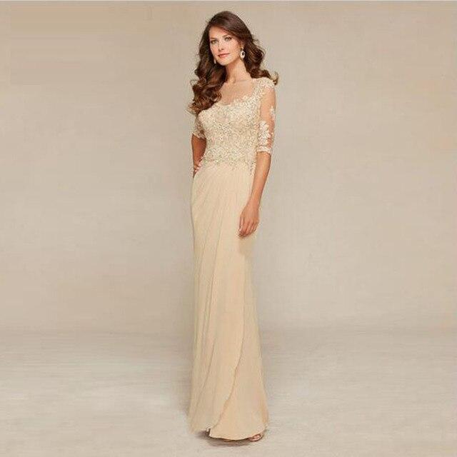 0b85ee1bf5f46 Elegant Beaded Appliques Mother 1/2 Sleeve Dress Party Floor Length Chiffon  Scoop Neck Mum of the Bride Gown Vestido de la madre