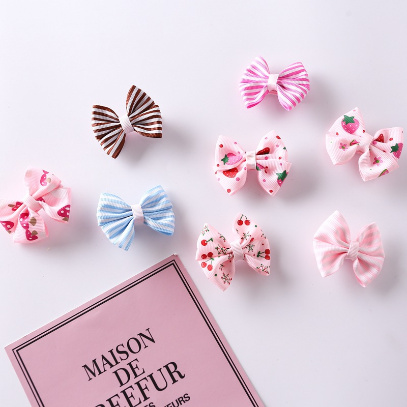 Baby Girl Hair Pin Kid 8 Pcs Striped Bowknot Newborn Cute Hair Accessories Toddler Fashion Hairgrips Child Random Color Hair Pin