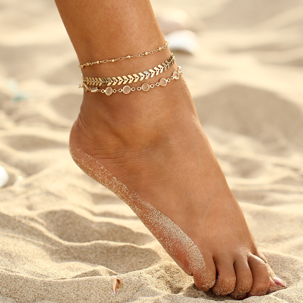 Bohemian Crystal Sequins Anklet Set For  Vintage Gold Color Ankle Bracelets On The Leg Beach Foot Jewelry Trendy Party Gift