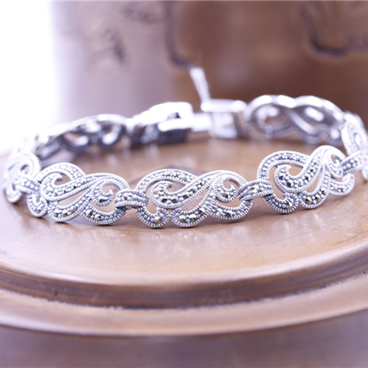 New Limited Ladies S990 Pure Silver Bracelet Classic Thai Silver Bracelets Silver Bangle Charms thai silver bracelets