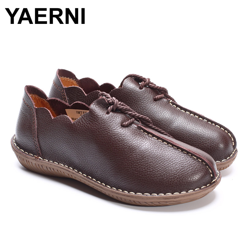 YAERNI  Women Flat Shoes 100% Genuine Leather Ladies Flat Shoes Casual Lace up Moccasins Shoes Female Footwear women shoes flat genuine leather hand made ladies flat shoes black brown coffee casual lace up flats woman moccasins 568 5