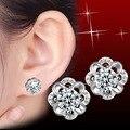 Hot Women Fashion Bijouterie Cherry Flowers Ear Stud Earrings Silver Plated Simple Small Plant Earring Lovers Gifts