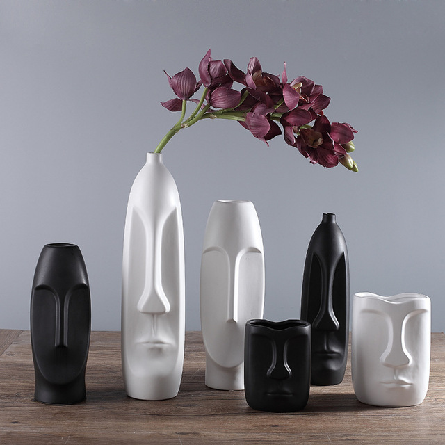 Modern Brief Character Statue Handicraft White Black Ceramic Porcelain  Living Room Desktop Botanic Vase Flower Vase