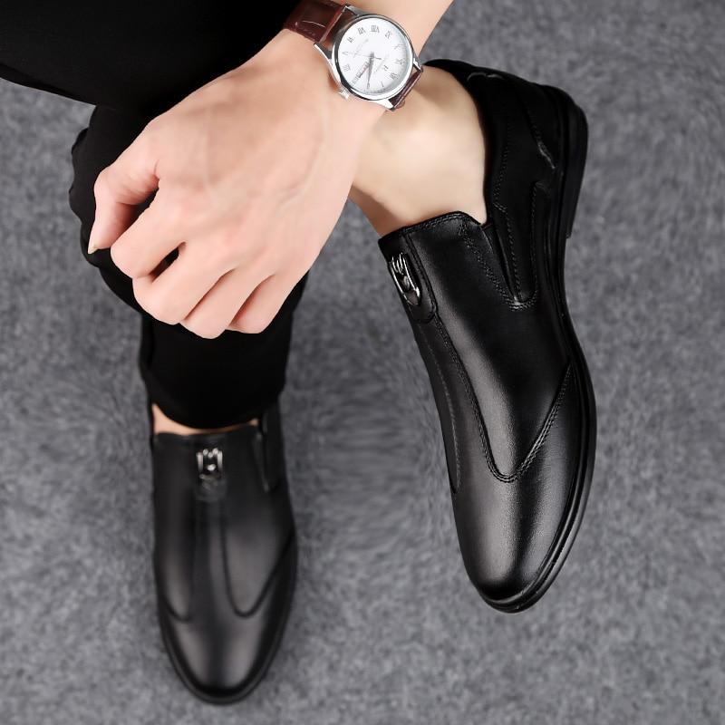 Genuíno Mocassins Black De Couro Em Ao Respirável Moda brown Deslizamento Confortáveis Livre Ar Sapatos Homens Apartamentos Dos P4 Marca Condução Macio Hgw0qt1