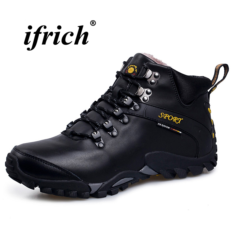 Man Hiking Shoes with Fur Black Brown Winter Warm Sneakers for Men High Top Male Climbing Shoes Rubber Sole Mountain Boots 2018 climbing boots for men brown man hiking shoes rubber bottom tactical boots male anti slip lace up man mountain shoes