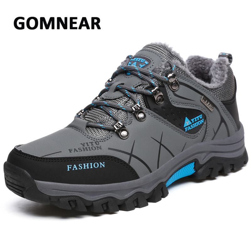GOMNEAR New Men Hiking Shoes For Winter Cotton Warm Wear-resistant Leather Shoes Outdoor Trekking Climbing Hunting Sneakers winter men s outdoor warm cotton hiking sports boots shoes men high top camping sneakers shoes chaussures hombre
