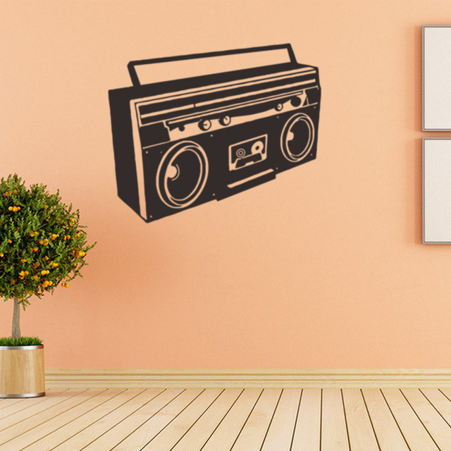 Ouderwetse radio vinyl muurtattoo interieur woonkamer diy art ...