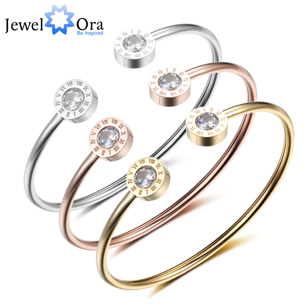 Adjustable Open Stainless Steel Bracelet Bangles 3 Color Cuff Bracelet For Women Jewelry Gift For Girls (JewelOra BA101841) delicate solid color glazed t shaped cuff bracelet for women