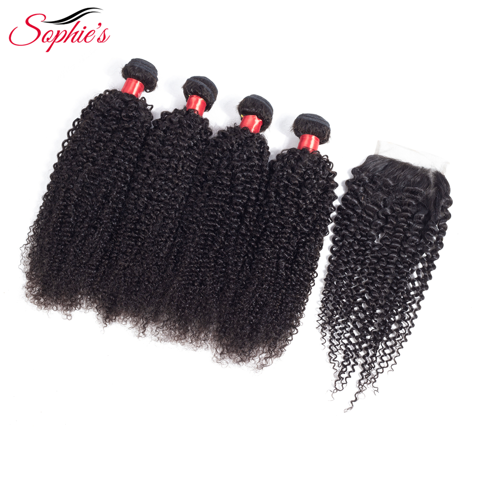 Sophie s Kinky Curly 4 Bundles With Closure Non Remy Human Peruvian Hair Extensions Hair Weaves
