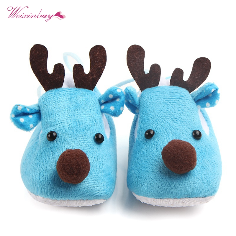 Baby Lovely Winter Xmas Elk Deer Shoes Sweet Antiskid Toddlers Baby Girls Infant Shoes First Walker