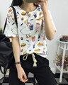 Harajuku namorado ocasional solto roupas estudante jovem das mulheres dos desenhos animados imprimir T-shirt curto-luva t top