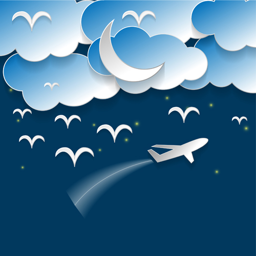 Art fabric cloth photography backdrop computer Printing background for photo studio cartoon airplane clouds wallpaper D-7434