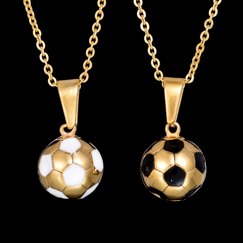 football women for hop fan jewelry boy hip link steel chain pendant pattern soccer sport men zibbor stainless necklace com