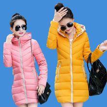 2016 Осень Зима Новый Корейский Тонкий Сгущает Теплый Женщины С Капюшоном Хлопок Вниз Куртка Большой размер Средней длины Пальто Женщин G0132