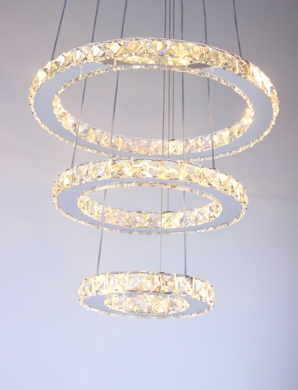 Us 88 38 48 Off Mirror Stainless Steel Crystal Diamond Lighting Fixtures 3 Rings Led Pendant Lights Cristal Dinning Decorative Hanging Lamp In