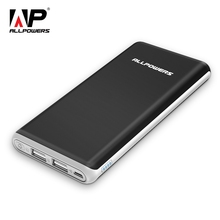 ALLPOWERS  Ultra Slim 10000mAh Power Bank with Dual  Output Portable Charger Tech for Cell Phones,xiaomi, iPhone, iPad, Samsung pg 1 universal dual usb 14000mah portable power bank for ipad iphone samsung more blue
